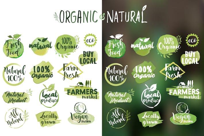 Aufkleber und Abzeichen für Bio-Lebensmittel