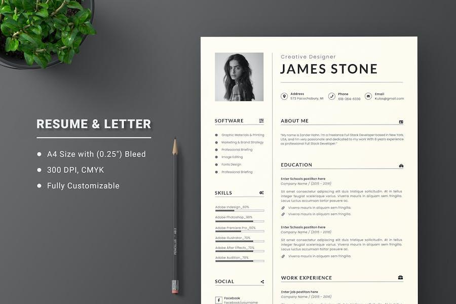 Minimal CV Resume & Letter Cover