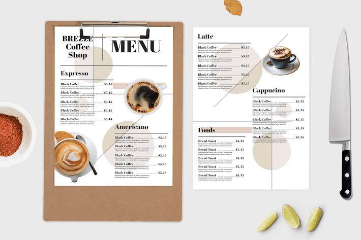 Coffee Shop — Modèle de menu alimentaire