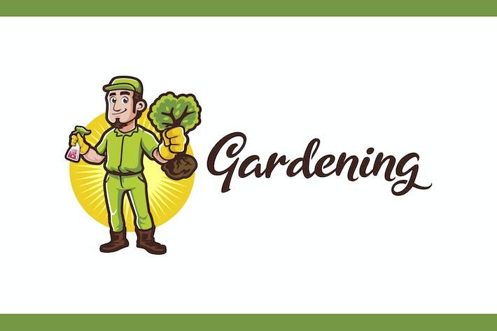 Thumbnail for Mascotte de jardinier - Logo de jardinage et d'aménagement paysager