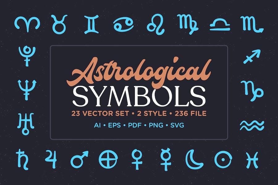 Набор Вектор астрологических символов