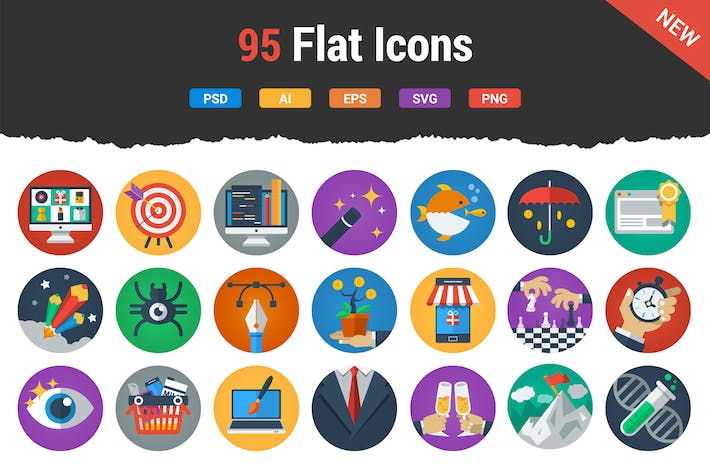 Thumbnail for 95 Irresistable Flat Icons