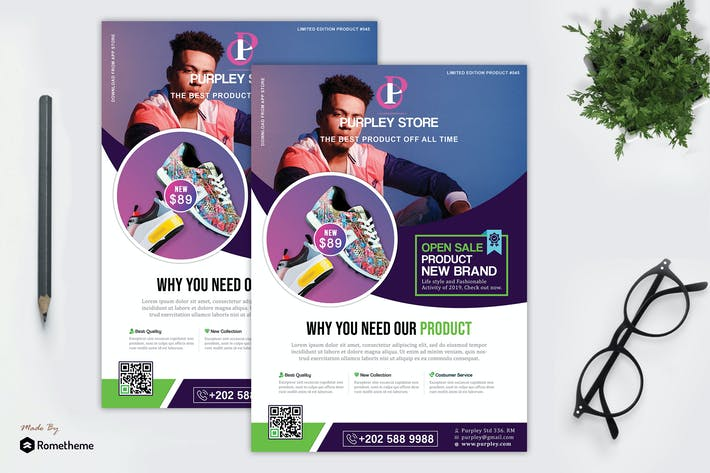 Thumbnail for Purpley - Minimalist Product Flyer Template HR