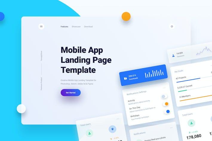 Thumbnail for Mobile App Landing Page Template UI Kit + Widgets