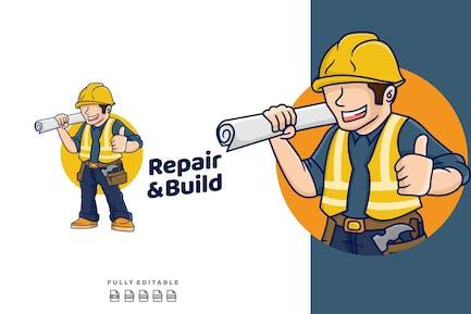 Contractor Cartoon Mascot Logo