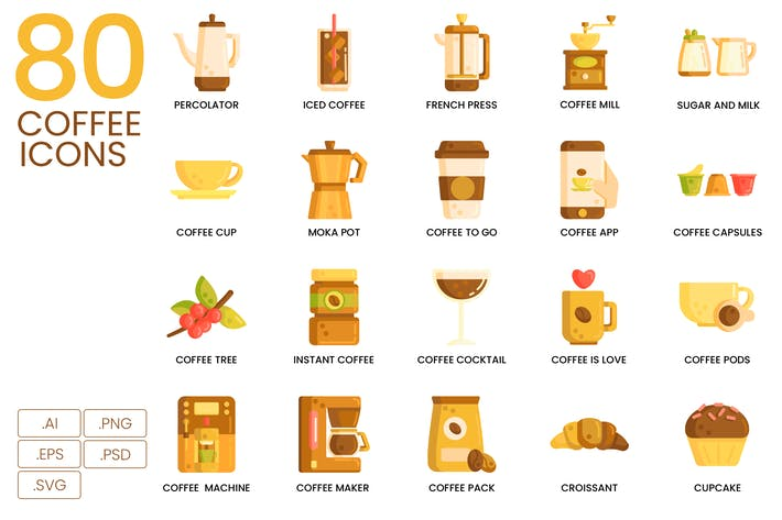 Thumbnail for 80 Coffee Flat Icons
