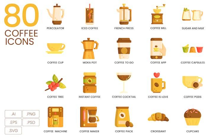 80 Coffee Flat Icons