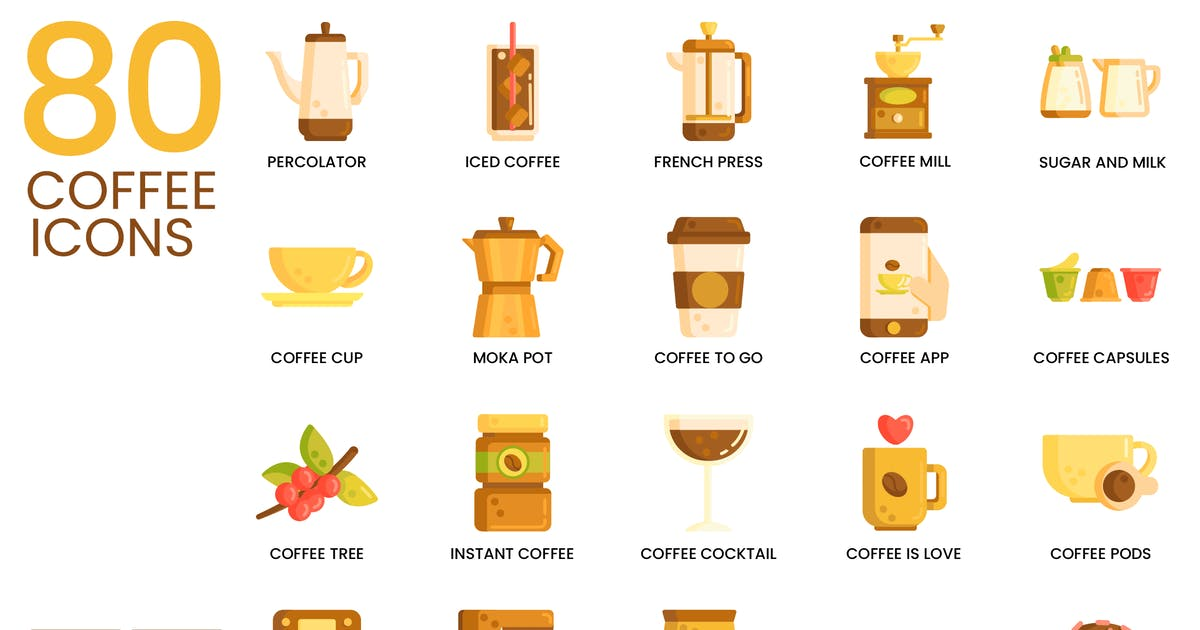 Download 80 Coffee Flat Icons by Krafted