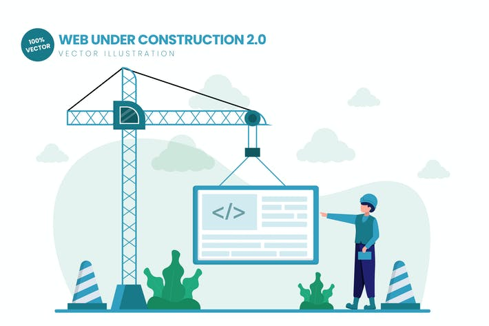 Thumbnail for Web Under Construction 02 Flat Vector Illustration