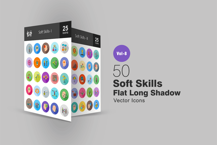 Thumbnail for 50 Soft Skills Flat Shadowed Icons