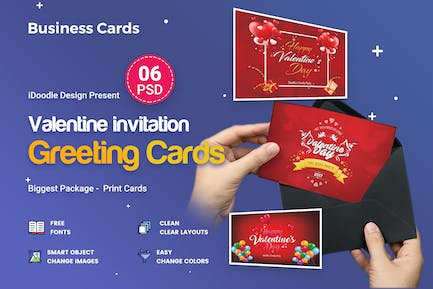Valentine Greeting Card - 06 PSD [02 Size Each]