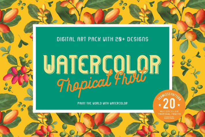 Thumbnail for 20 Watercolor Tropical Fruits Seamless Pattern