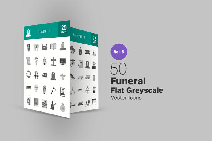 Thumbnail for 50 Funeral Flat Greyscale Icons