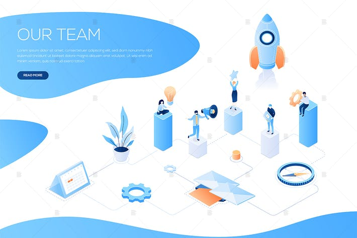 Thumbnail for Our team - colorful isometric web banner
