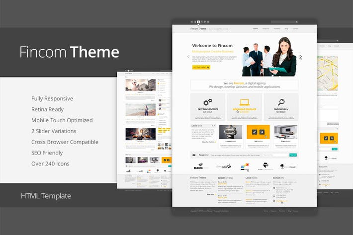Thumbnail for Fincom - Responsive HTML Template