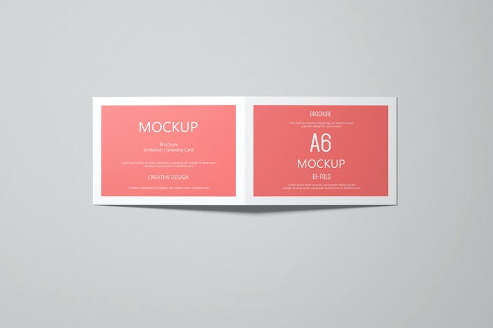 Thumbnail for A6 Landscape Greeting Card Invitation Mockup Set 2