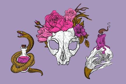 Stilvolle Totenköpfe