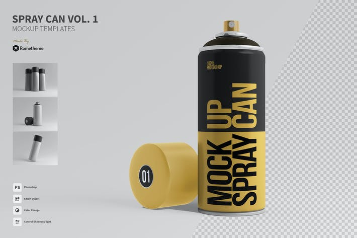 Cover Image For Spray Can Mockup Templates Vol. 01 FH
