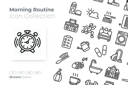 Morning Routine Outline Icon
