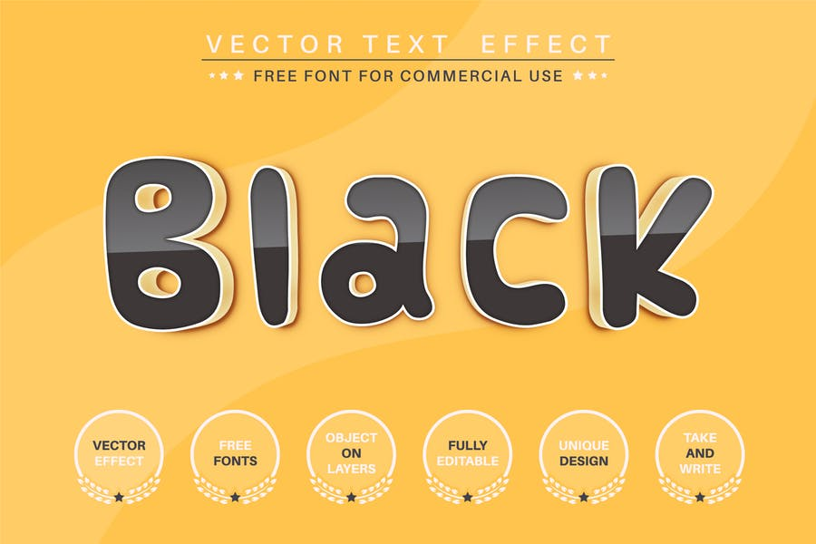Black reflect - editable text effect, font style