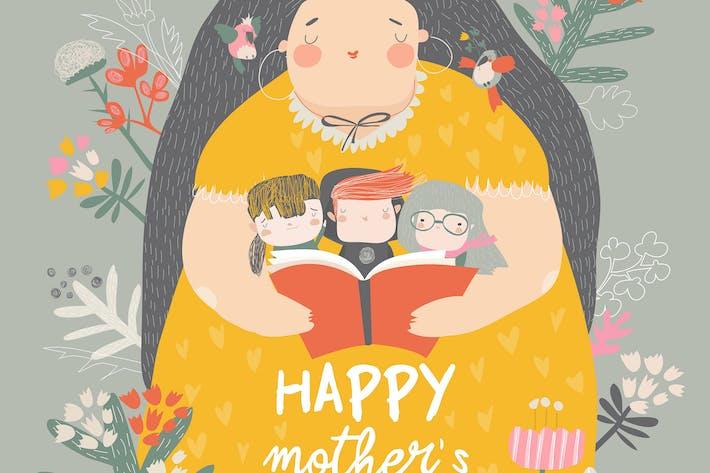 Thumbnail for милые мать чтение книги с ее дети в поток