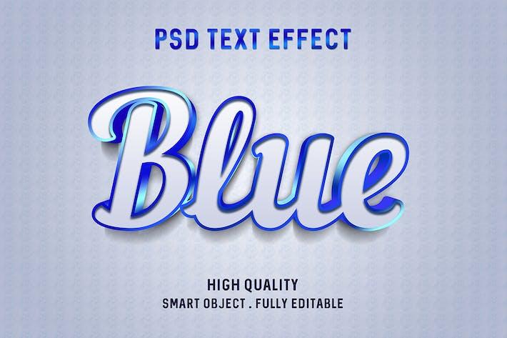 Эффект глянцевого текста «Синий контур»