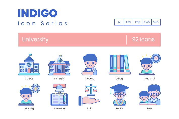 92 University Icons | Indigo Series