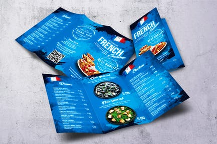 French Cuisine Trifold A4 & US Letter Food Menu
