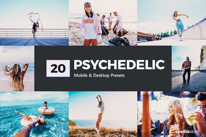 Thumbnail for 20 Psychedelic Lightroom Presets and LUTs