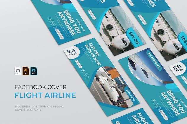 Flight Airlines | Facebook Cover - product preview 0