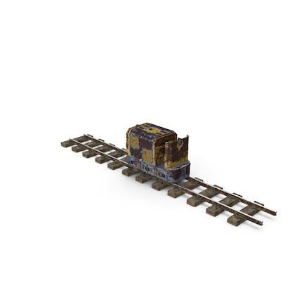 Mining Locomotive on Railway Section Rusted