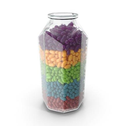 Octagon Jar mit Jelly Beans Regenbogenfarben