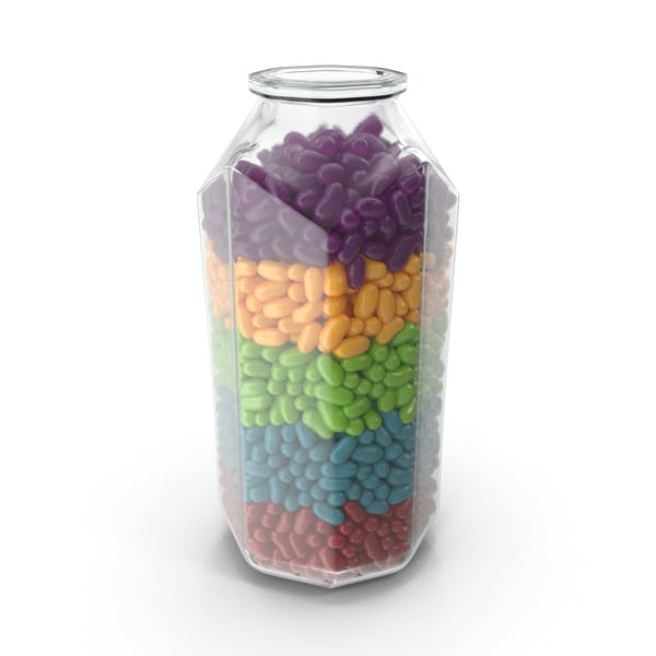Octagon Jar with Jelly Beans Rainbow Colors