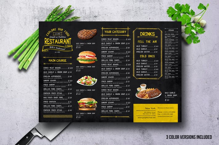 Thumbnail for Vintage A3 Food Menu - 3 Color Versions