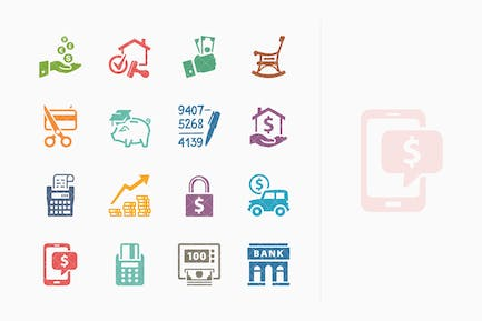 Colored Personal & Business Finance Icons - Set 2