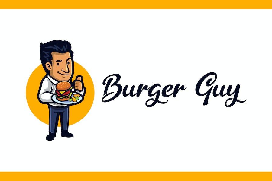 Cartoon Burger Guy Mascot Logo