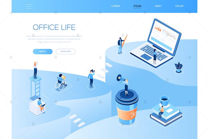 Thumbnail for Office life - colorful isometric vector web banner