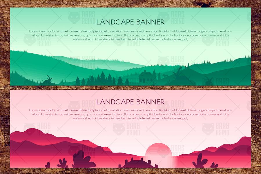 Сountryside Scenic Panorama Illustrations