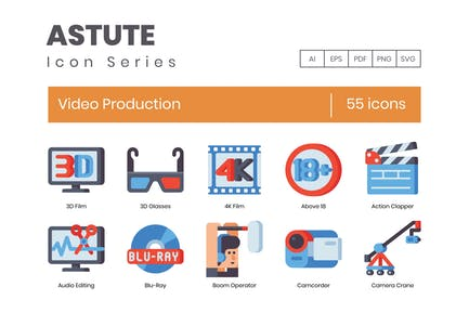 55 Video Production Icons - Astute Series