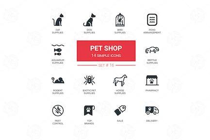 Pet Shop - Satz von einfachen Icons