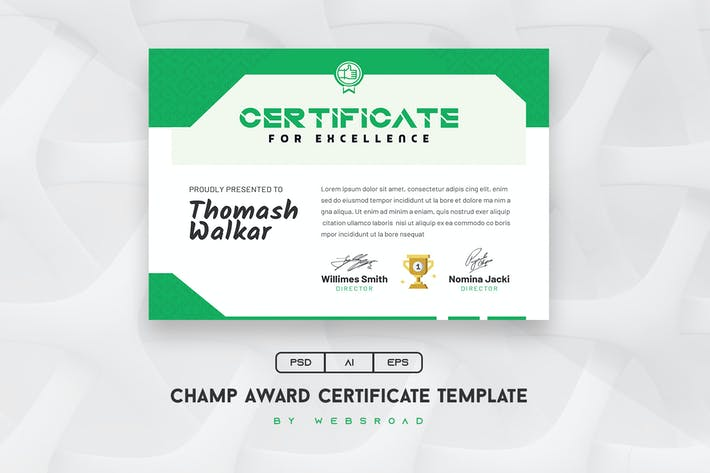 Thumbnail for Champ-Award-Certificate-Template