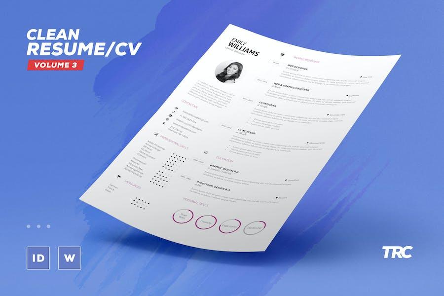 Clean Resume/Cv Volume 3