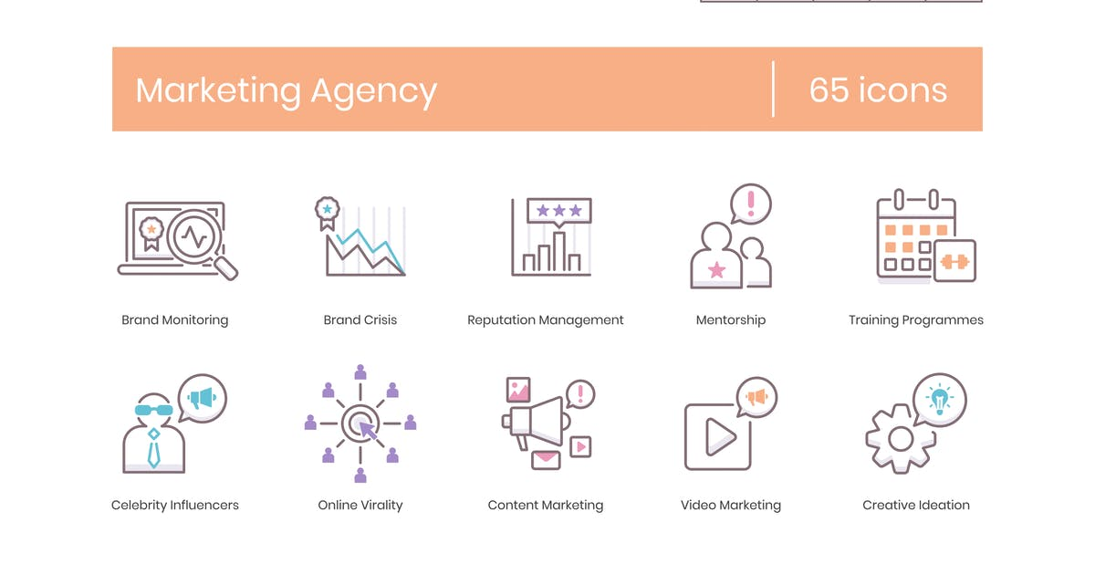 Download 65 Marketing Agency Line Icons by Krafted