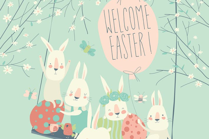 Thumbnail for Cute cartoon bunny with Easter eggs and flowers.