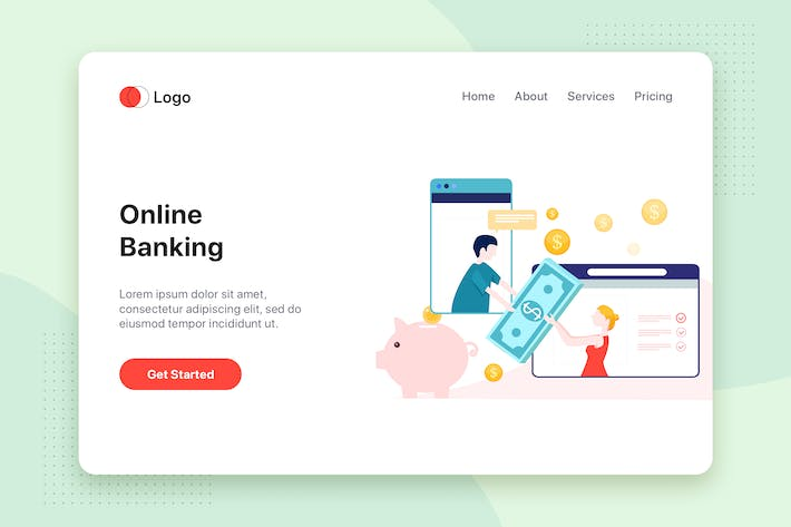 Thumbnail for Online Banking flat concept for Landing page