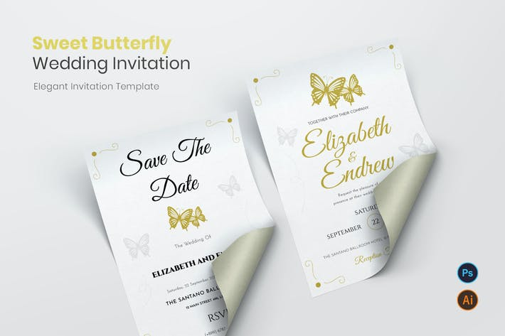 Thumbnail for Sweet Butterfly Wedding Invitation