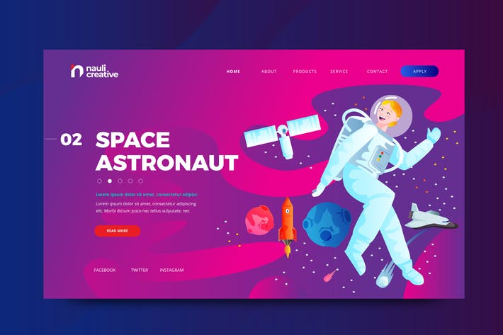 Thumbnail for Space Astronaut Web PSD and AI Vector Template