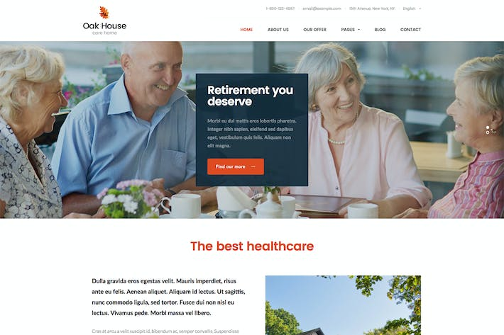 Thumbnail for Oak House - Senior Care, Retirement WP Theme
