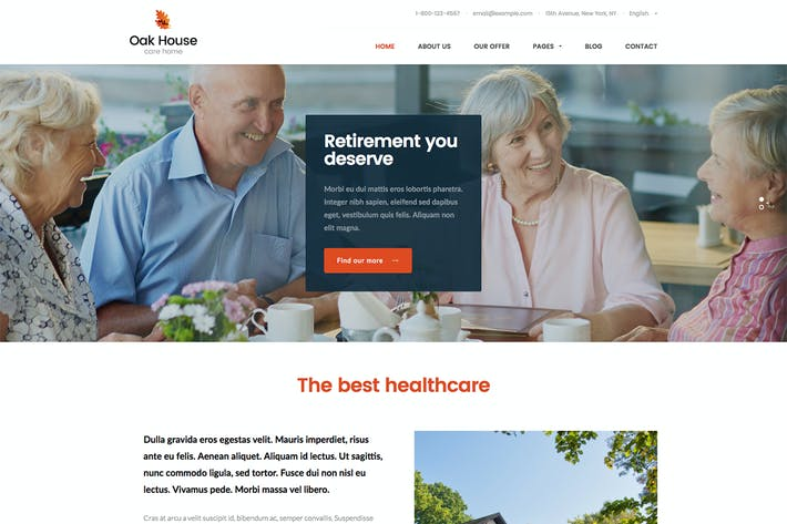 Cover Image For Oak House - Senior Care, Retirement WP Theme