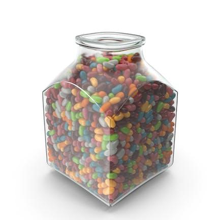Quadratisches Glas mit Jelly Beans